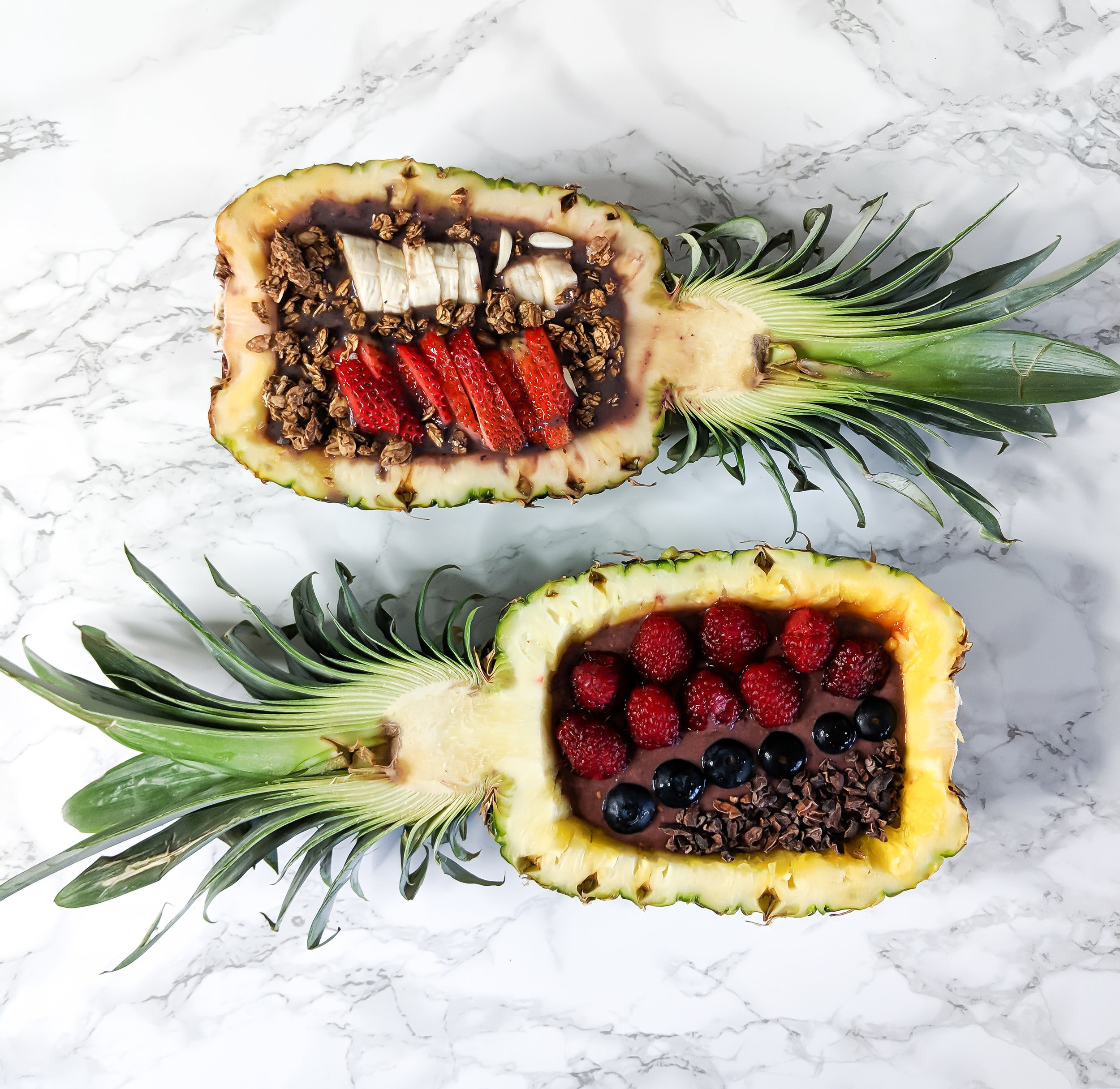 Acai Bowl - Ingredients:- 2 Acai Smoothie Packs -1 banana-1 cup blueberries or raspberries or quartered strawberries-1/2 cup almond milk (unsweetened)Toppings:-1/2 cup granola-1/2 banana (sliced)-1/4 cup blueberries, raspberries or quartered strawberries