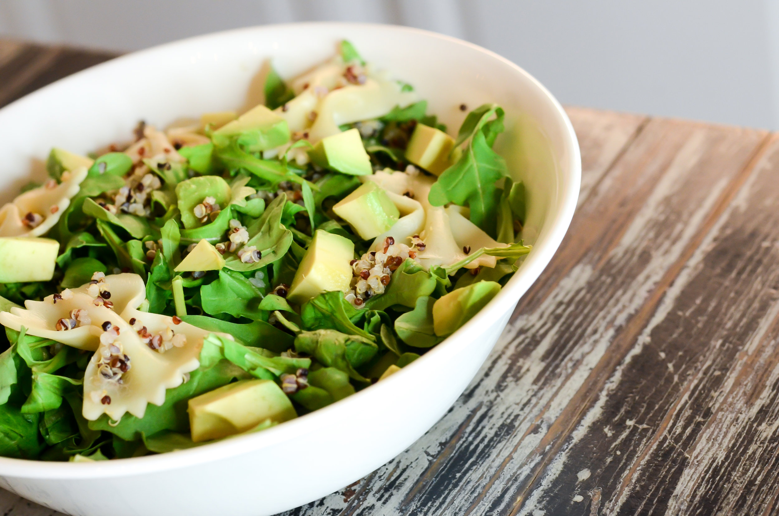 TeriyakiSalad Recipe - Ingredients:- 1-2 cups of kale, spinach, or lettuce (washed)- 1/4 cup of pasta noodles, cooked- 1/2 avocado, diced- 1/2 cup of quinoa, cooked- Missmisschelle's salad dressing (recipe shown below)- Optional: Salmon, Chicken, etc.