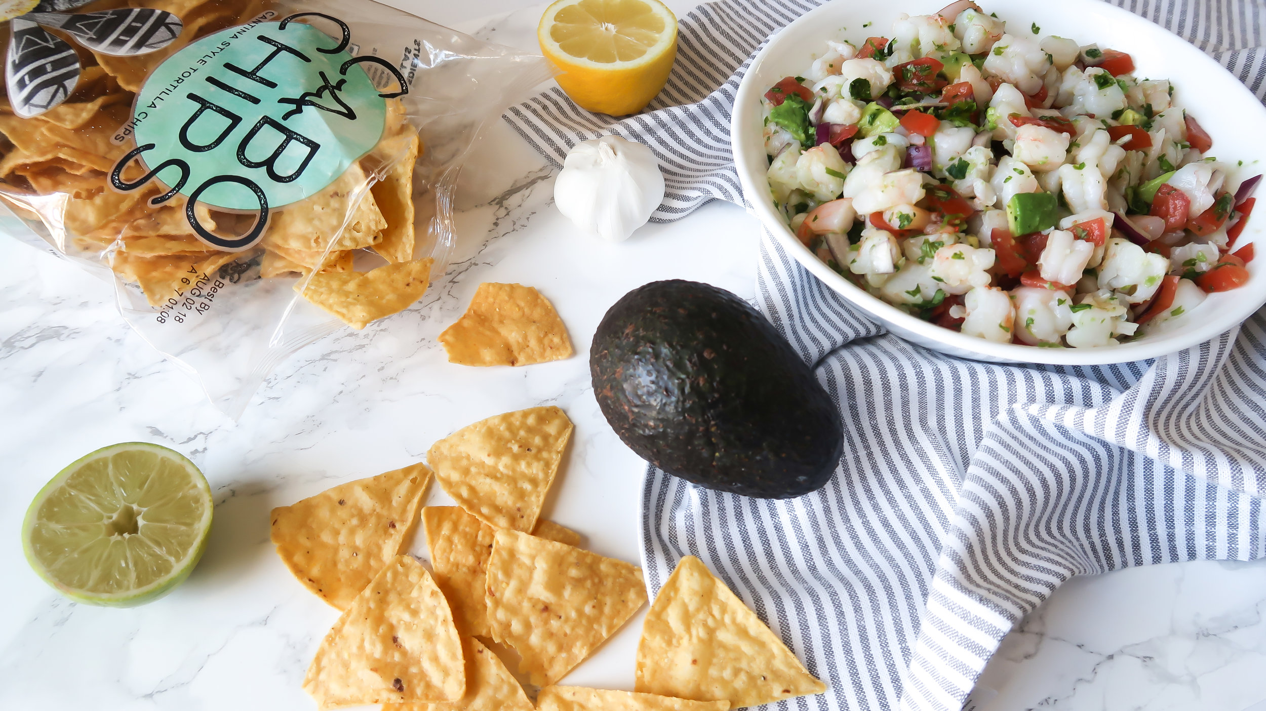 Shrimp Ceviche - Ingredients:- 1 lb. medium shrimp (thawed or fresh), peeled & deveined- squeezed lime juice (1-2 limes)- squeezed lemon juice (1-2 lemons)- 1/3 red onion, chopped- 3/4 cup cilantro, chopped- 1 avocado, chopped- pepper