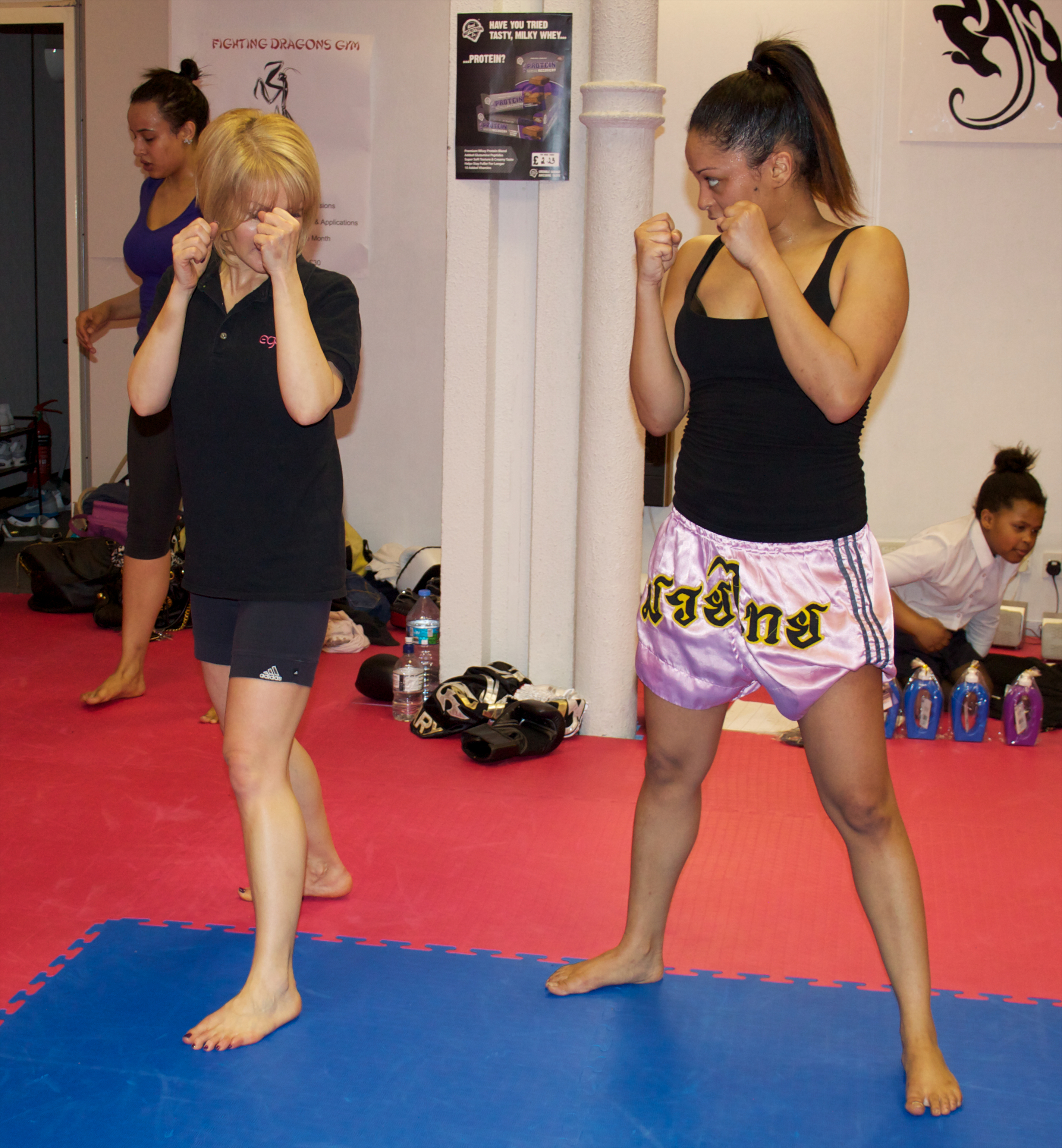 Mum and sis enjoying one of my group Muay Thai sessions