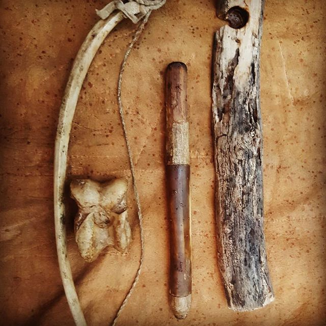 Fire kits: -Rib bow with rawhide cord, knee socket and cannon bone shaft on composite drill. -Strap drill. -Hand drill.  Honorable mention to tinder bag, fungus and coal carrier not pictured  Do you have a favourite fire kit? Would love to see it!