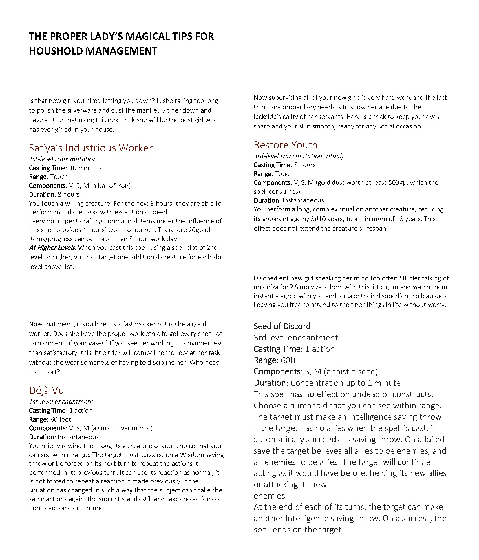 THE PROPER LADY'S MAGICAL TIPS FOR HOUSHOLD MANAGEMENT