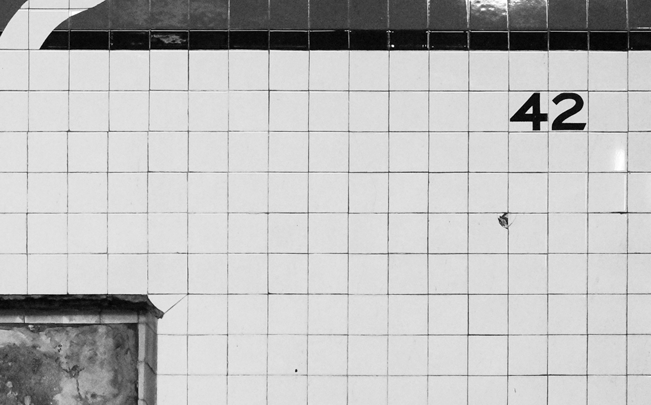 "4 3/8"" square subway tile in Times Square Station"