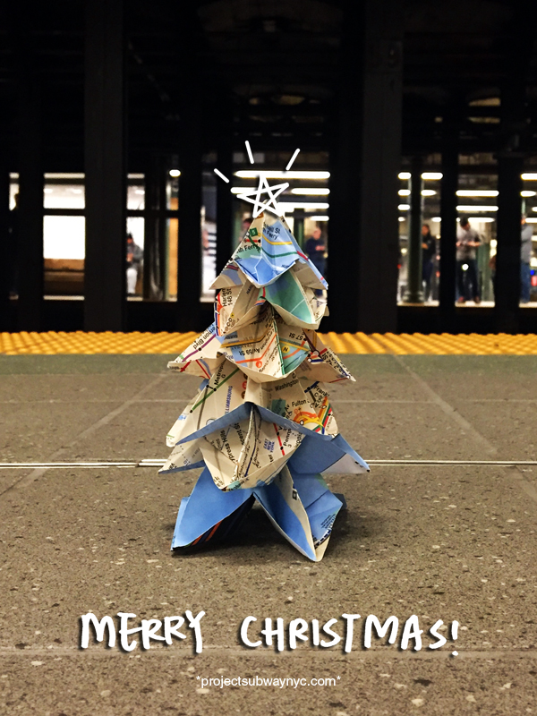 Subway Map Origami Christmas Tree