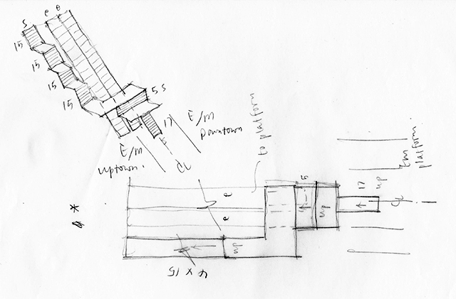 Sketch of Stair and  Escalator in 53rd Street - Lexington Avenue Station