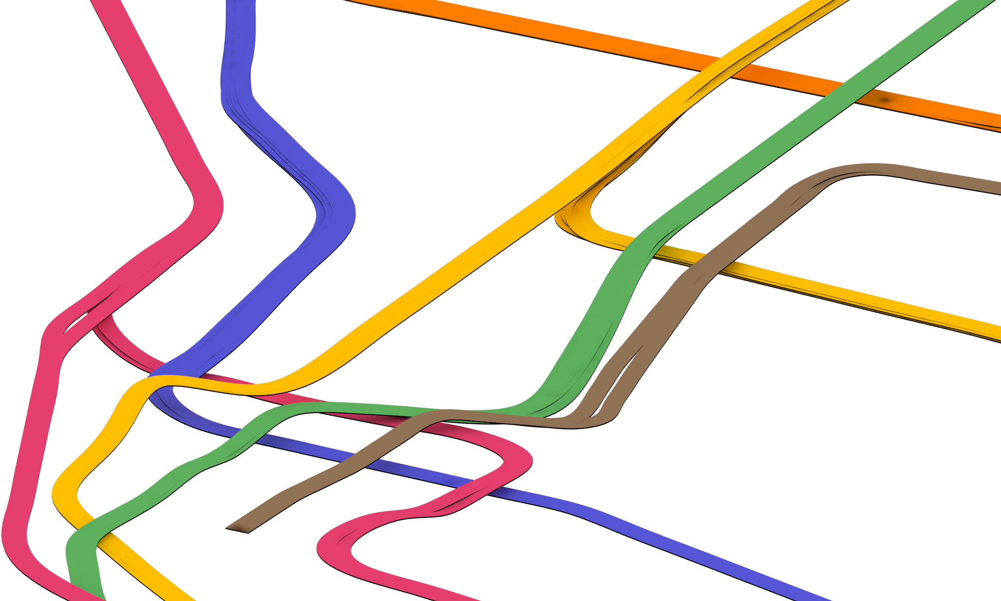 NYC Subway 3D Track Map - Downtown