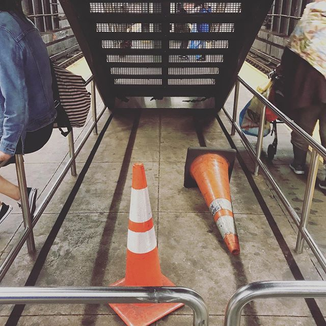 """I'm gonna take a nap"" - Jay Street MetroTech (A / C / F /  R)  #nyc #nycsubway #jaystreetmetrotech #station #brooklyn #trafficCone #architecture #underground"
