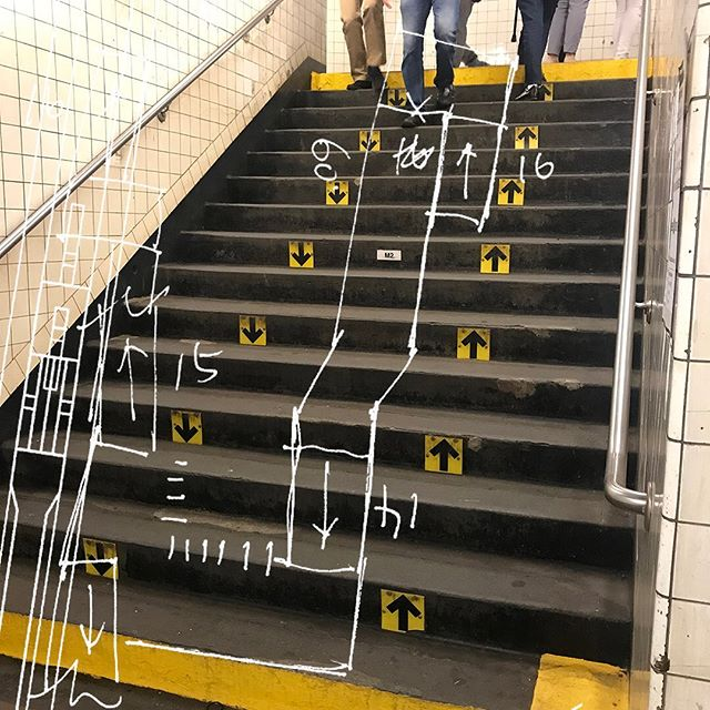 Up Up Down Down ⬆️⬆️⬇️⬇️ Court Street - Borough Hall - R / 2 / 3 / 4 / 5. . #Nyc #Subway #NycSubway #CourtStreet #BoroughHall #Station #stairs #arrows #Brooklyn #Sketch #Architecture #Collage . . #ProjectSubwayNYC