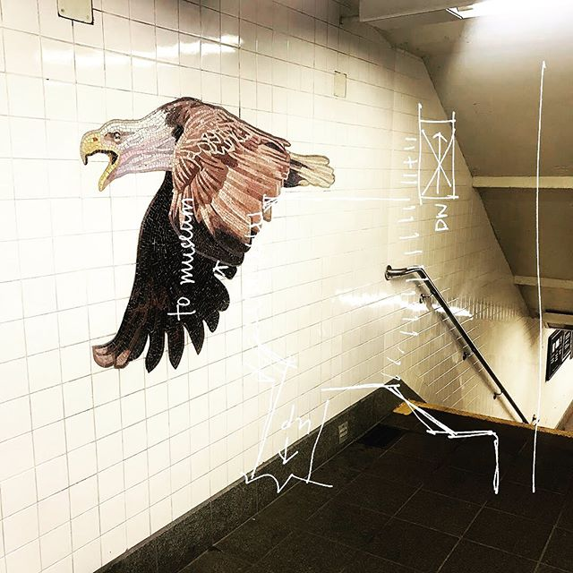 Bald Eagle! 81st Street Museum of Natural History / B / C. . . . #Nyc #Subway #NycSubway #81stStreet #MuseumOfNaturalHistory  #Station #trains #Manhattan #cartography #UpperWestSide #Eagle #Mosaic #Mural #Sketch #Architecture #Collage . #projectsubwaynyc