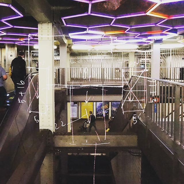 Neon honeycomb ceiling - Bleecker Street - Broadway - Lafayette Street / B / D / F / M / 6 . . . #Nyc #Subway #NycSubway #Manhattan #Brodaway #BroadwayLafayette #BleeckerStreet #Underground #hexagons #ceiling #neon #neonlights #Cartography #Station #NoHo #Sketch #Architecture #Collage #BDFM #6Train . #projectsubwaynyc