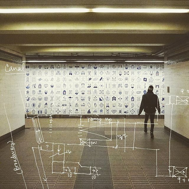 So many symbols - Canal Street / N / Q / R / W / J / Z / 6 . . . #Nyc #Subway #NycSubway #Chinatown #CanalStreet #Manhattan #symbols #nycsubwaystation tiles #Station #Sketch #Architecture #Collage #NQRW #6Train . #projectsubwaynyc