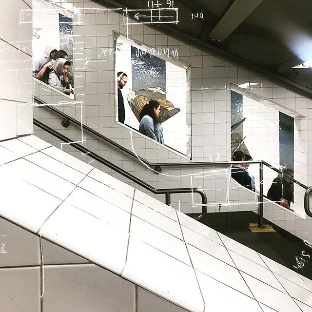 Windows into our lives - Whitehall Street - South Ferry / 1 / R / W. . . . #Nyc #Subway #NycSubway #SouthFerry #WhitehallStreet #Downtown #Station #escalators #trains #Manhattan #Sketch #Architecture #Collage . #projectsubwaynyc