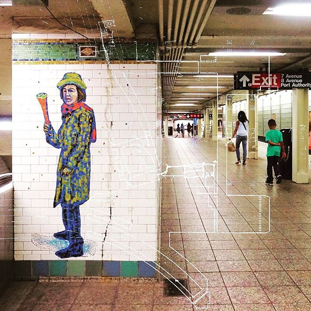 Creepy dude - 42nd Street Times Square A / C / E / N / Q / R / W / S / 1 / 2 / 3 / 7 . . . #Nyc #City #nycsubwaystation #nycsubwaystation Subway #NycSubway #42ndStreet #TimesSquare #mosaic #Cartography #Station #Sketch #Manhattan #Architecture #Collage #NQRW #123Train #7Train . #projectsubwaynyc
