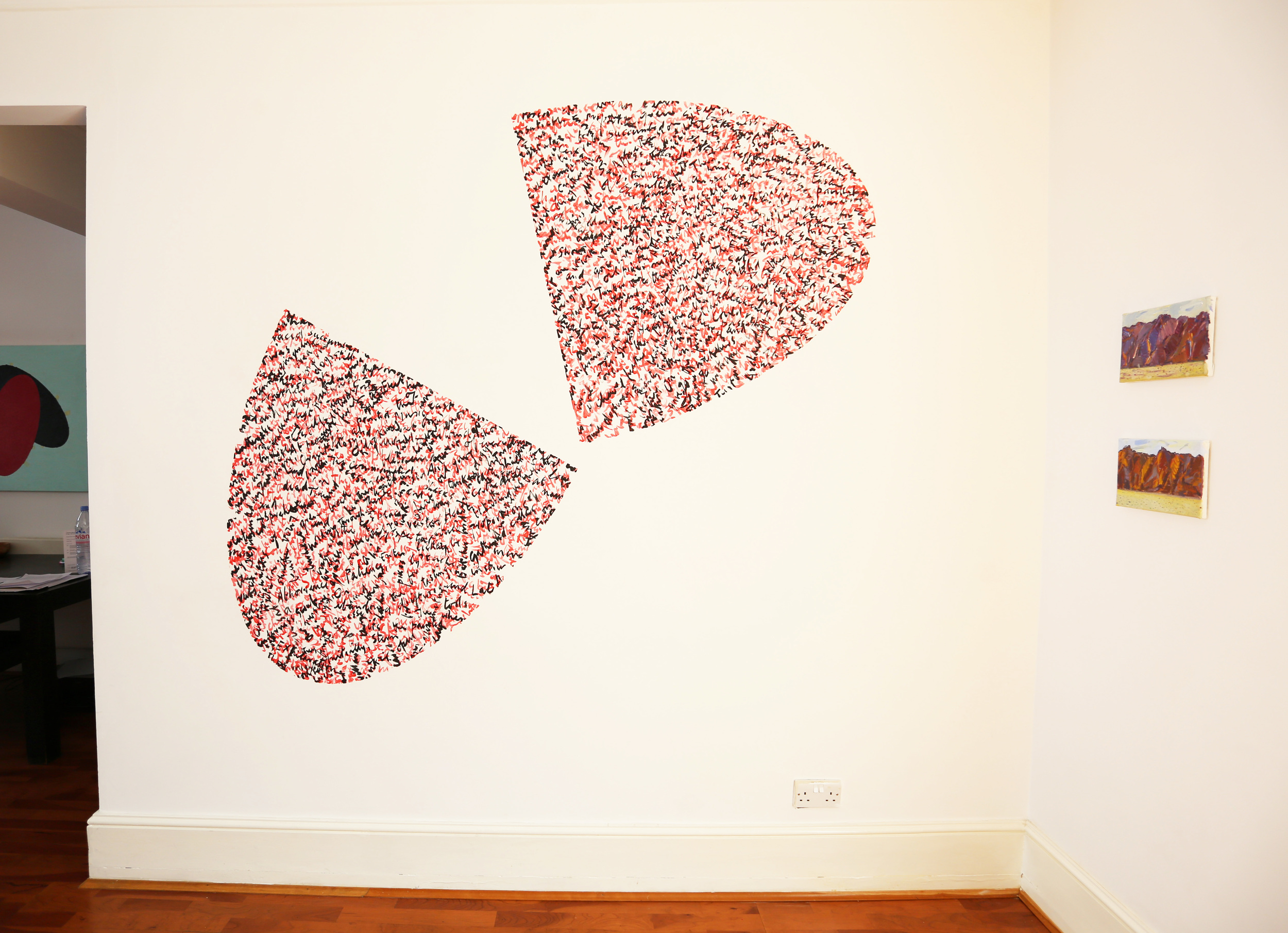 Exhibition at 43, Inverness Street, London. 2014. Wall drawing.
