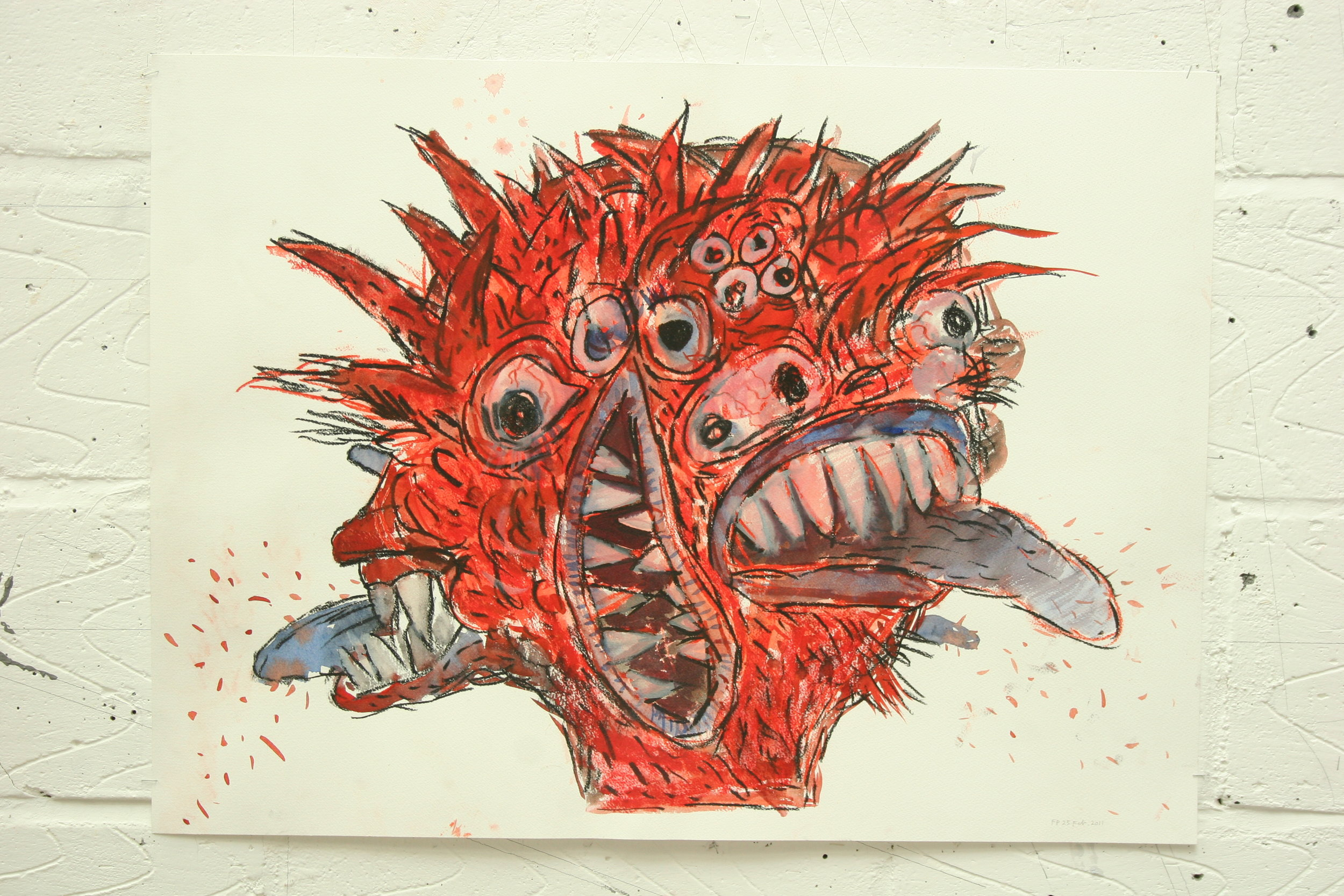 "A Devil. Circa 2011. 22"" X 30"" Watercolour on paper"