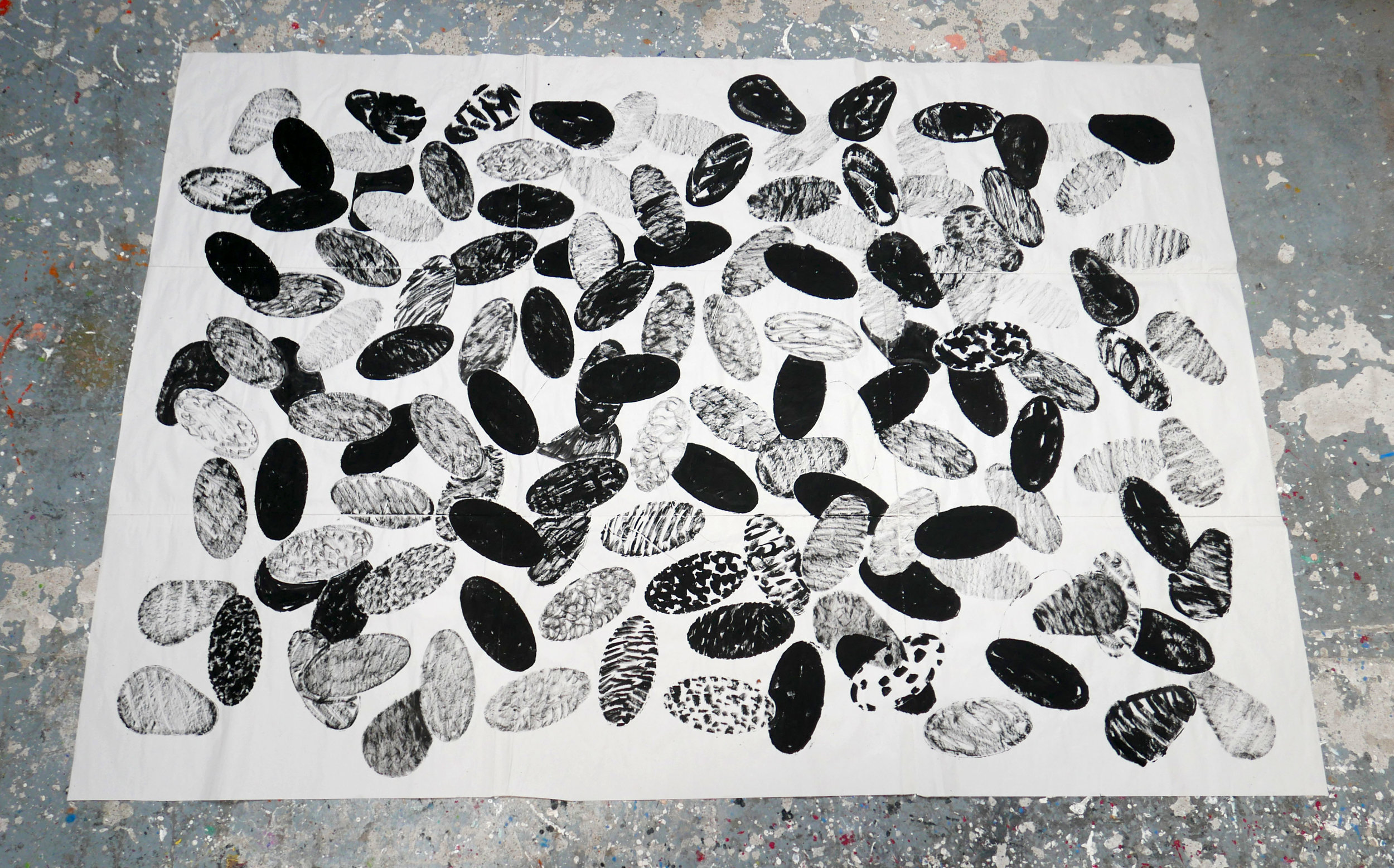 Large black drawing on newsprint with ovals (April May 2018) 008 - Copy.JPG