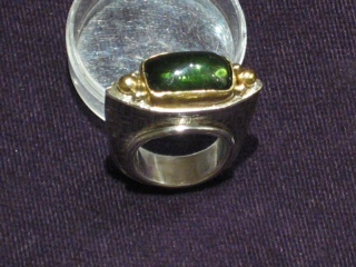 Green Tourmaline Amethyst with 18k Gold Accents