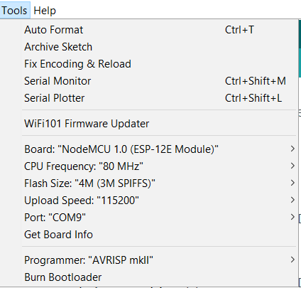 Configuration for the NodeMCU