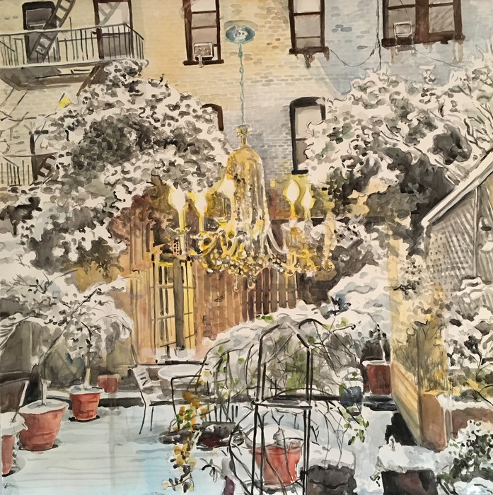 "Meridith McNeal ""Inside/Outside: Brooklyn Garden First Snow""Watercolor on Paper"