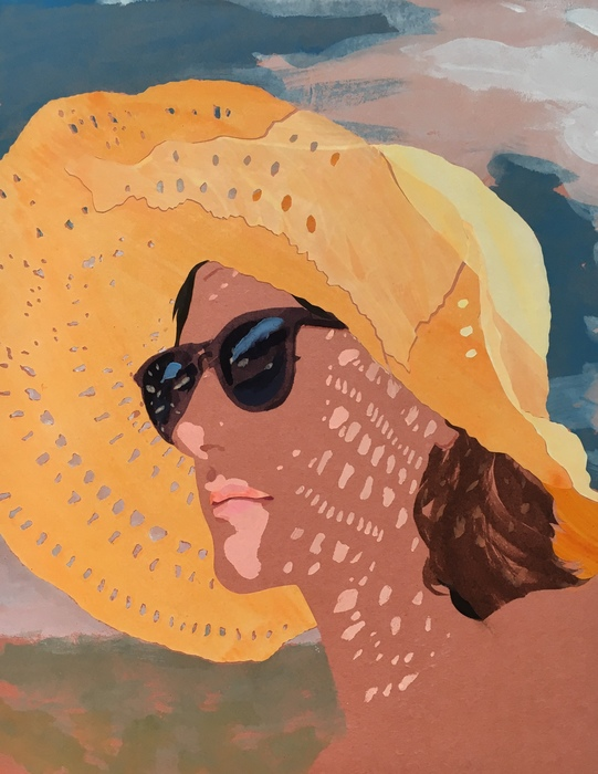 "Sebastian Blanck ""Sun Hat I"" Collage and Watercolor on Stretched paper"
