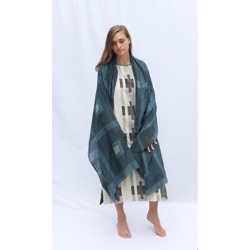 "Ace&Jig ""Eden"" Dress in Mural  &  Block Shop Textiles ""Taos"" Scarf"
