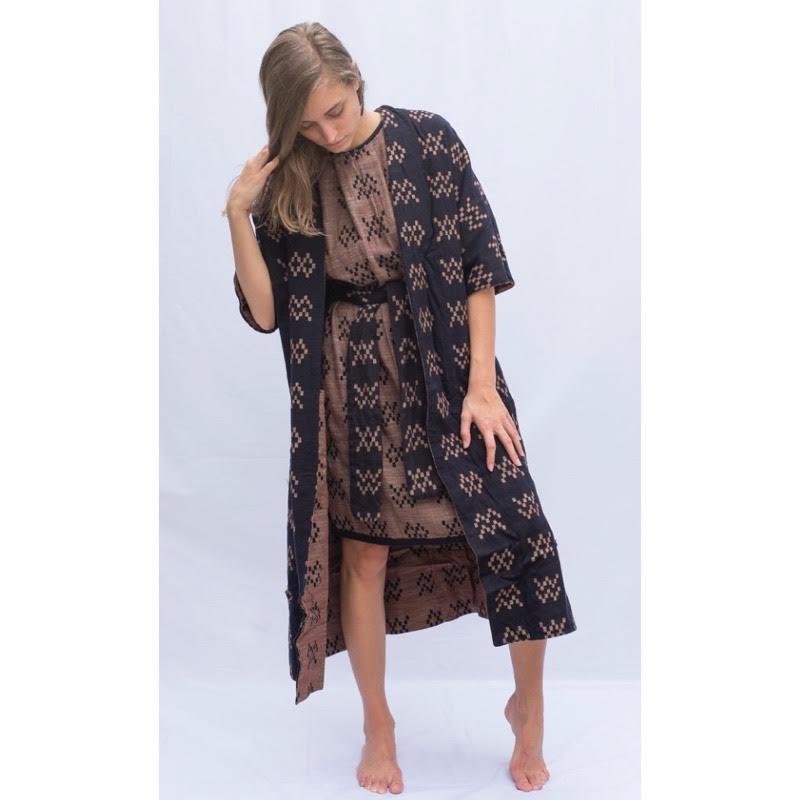 "Ace&Jig  Capella Coat  &  Beatrice Dress , both in reversible ""sampler"" fabrics"