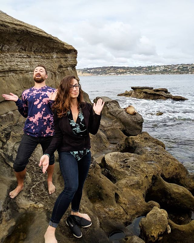 Jerry's in town for the weekend! Honestly while you're here we need to take more pictures... because all I have is this one of us imitating seals. 😂
