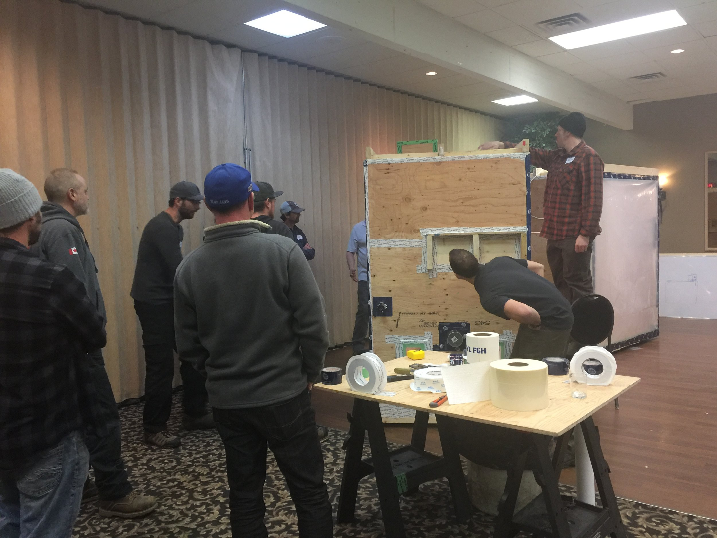 a mock blower-door test helps participants see the success (or failure) of their airtightness sealing during the class and understand how to remedy any deficiencies that are found. And, it's fun!