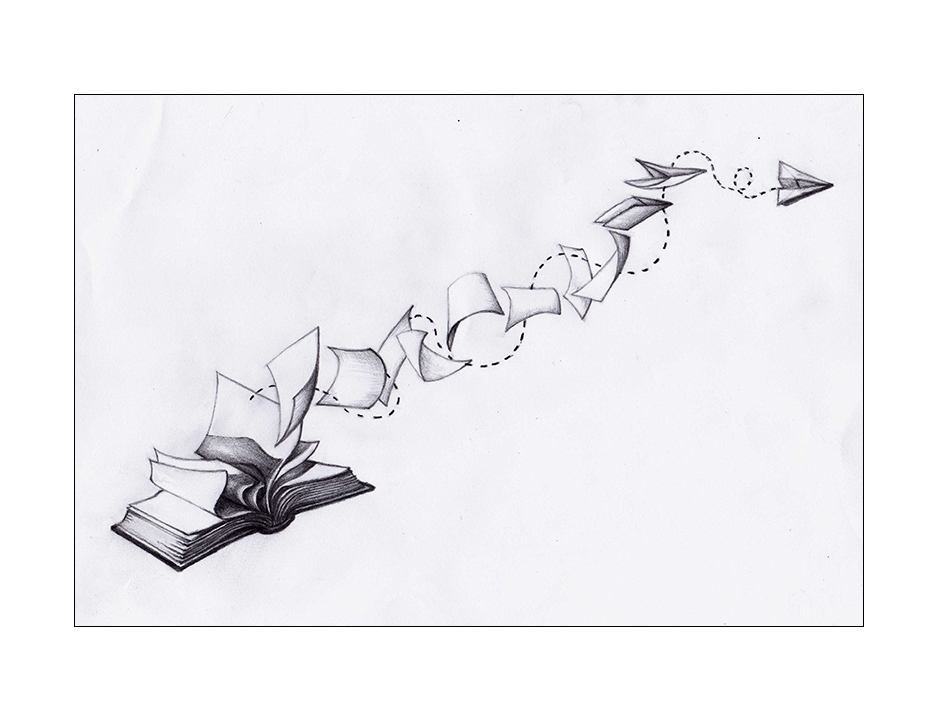 Book Tattoo reference drawing.