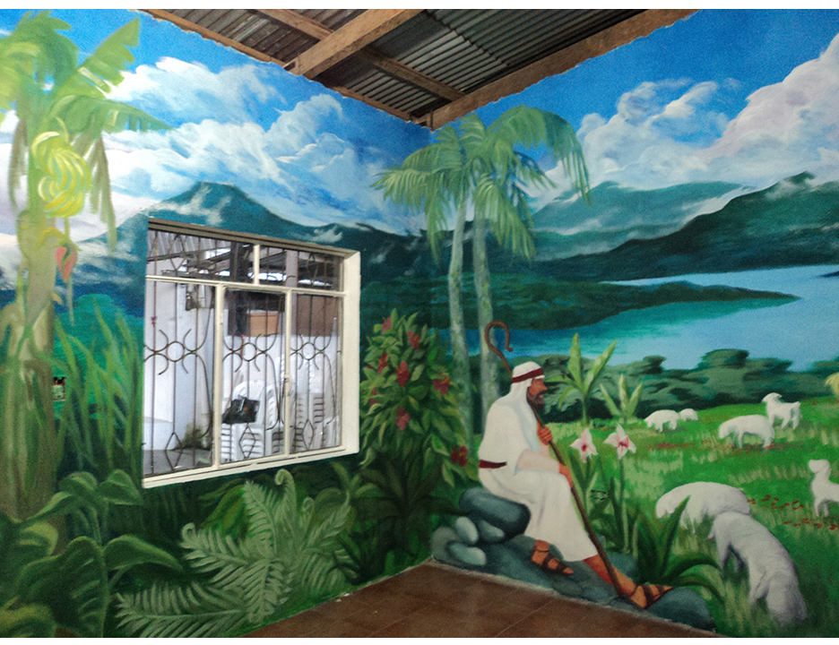 This 360 degree mural was done for a Sunday school classroom in a church in the small jungle city of Puyo, Ecuador, in 2011.