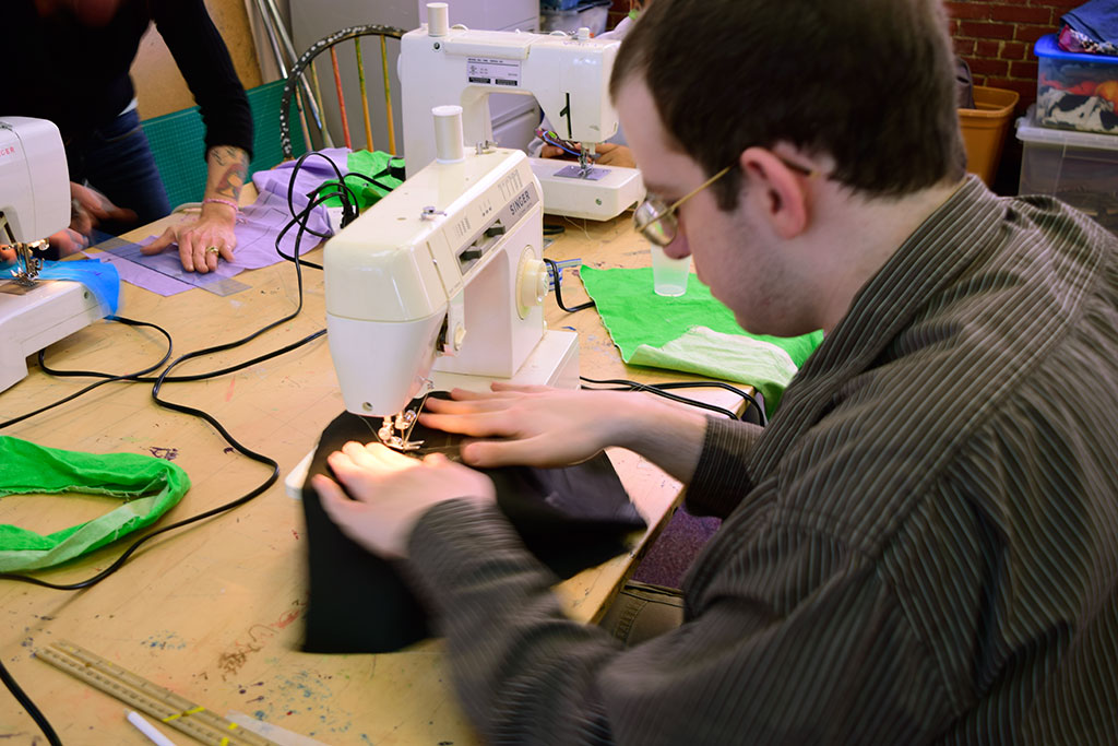 Michael sewing