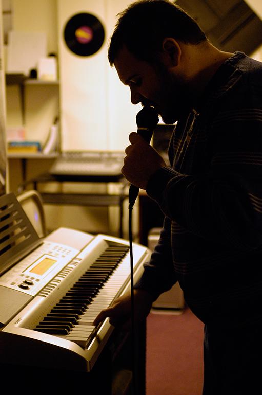 Chris making music