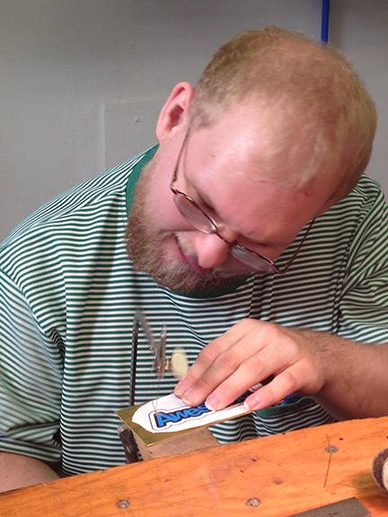 Brian working on jewelry at the Steel Yard