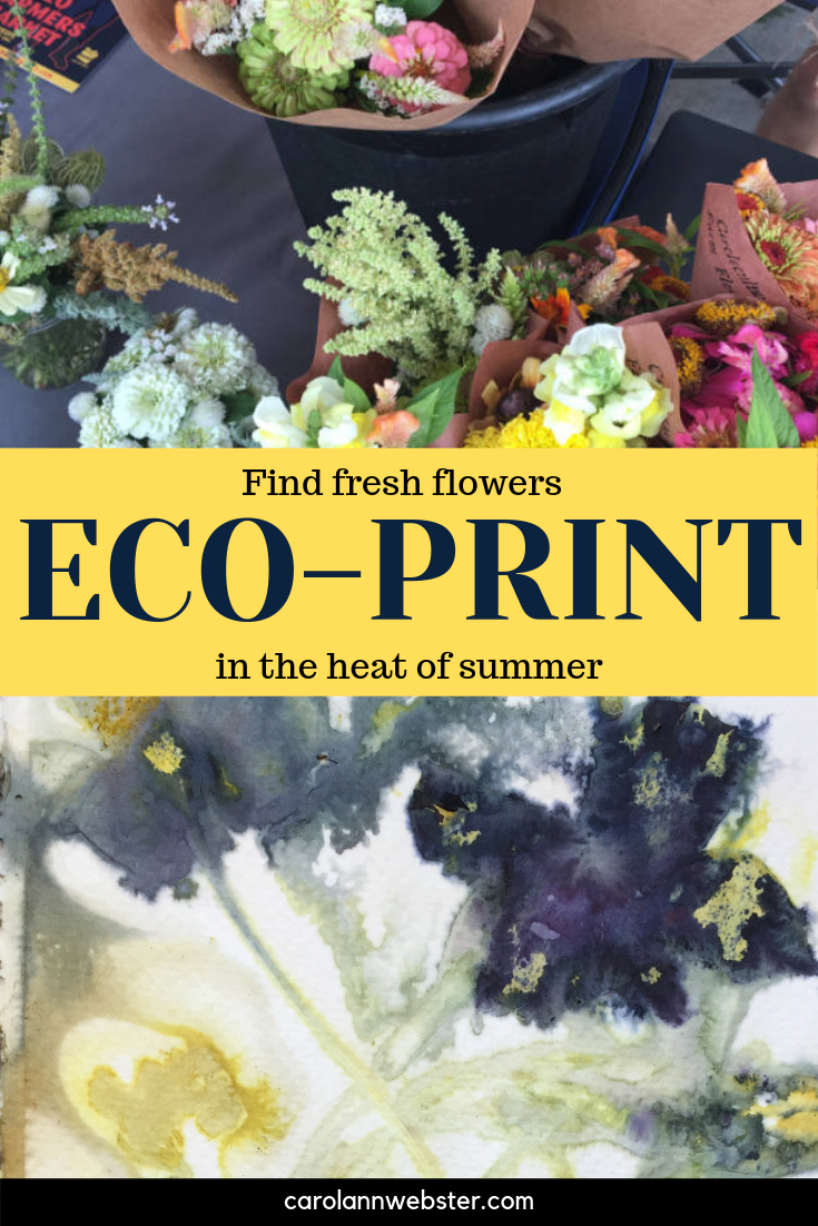 Eco-print in the heat of summer using fresh flowers