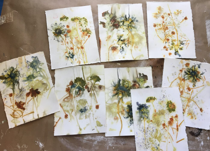 Papers printed using flowers and leaves