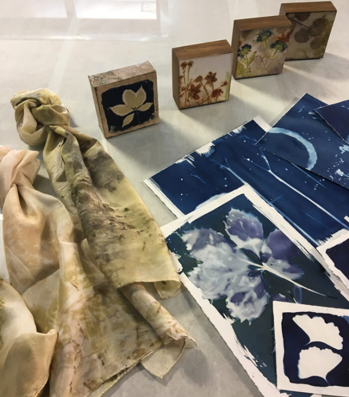 Scarves and papers printed using flowers and leaves.Any of these would be great for Christmas gifts.