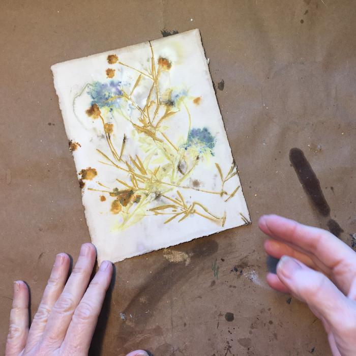 Ecoprint before mounting on cradled board artist Carol Ann Webster