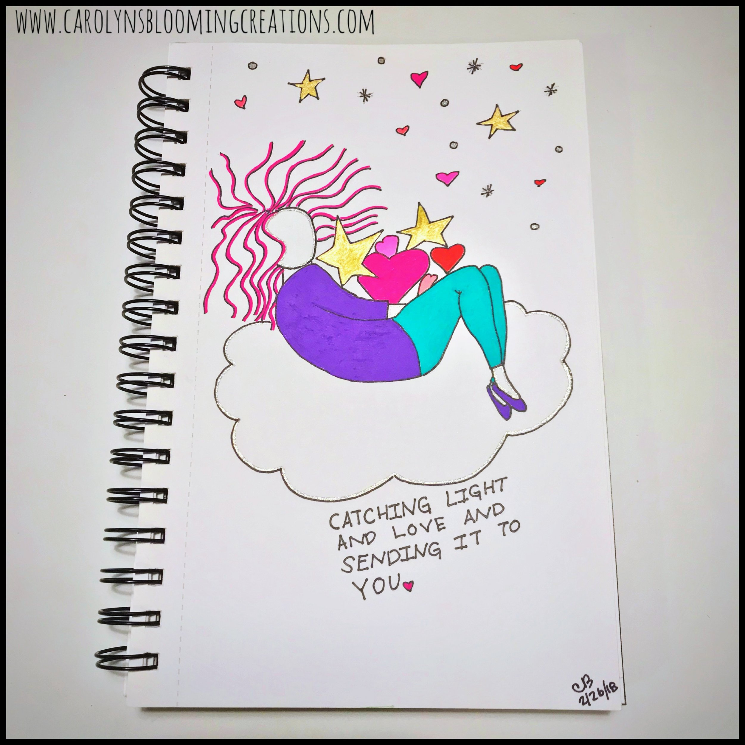 Sketch by Carolyn J. Braden: Sending Light and Love to You