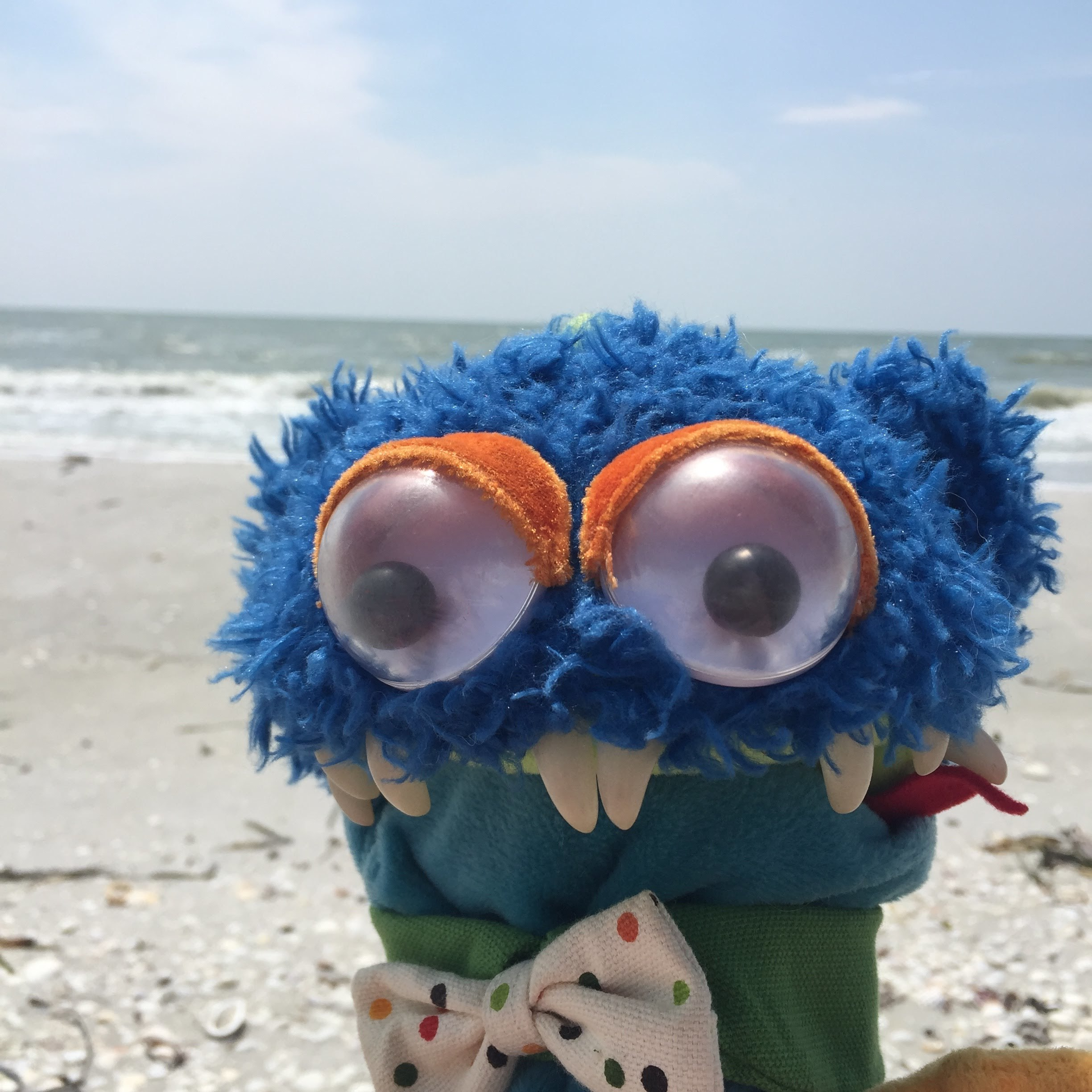 This is my puppet Humphrey GoKart. He is from the Manhattan Toy Company. He has been on numerous vacations with us. This is him being all fancy on Sanibel Island with us!
