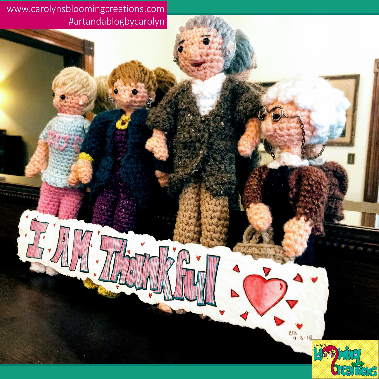 Art by Carolyn J. Braden, Crocheted Golden Girls dolls by Carolyn's friend, Susan Ehringer. Media for Carolyn's art: Gelly Roll pens on hand crafted cotton paper (made by Carolyn).