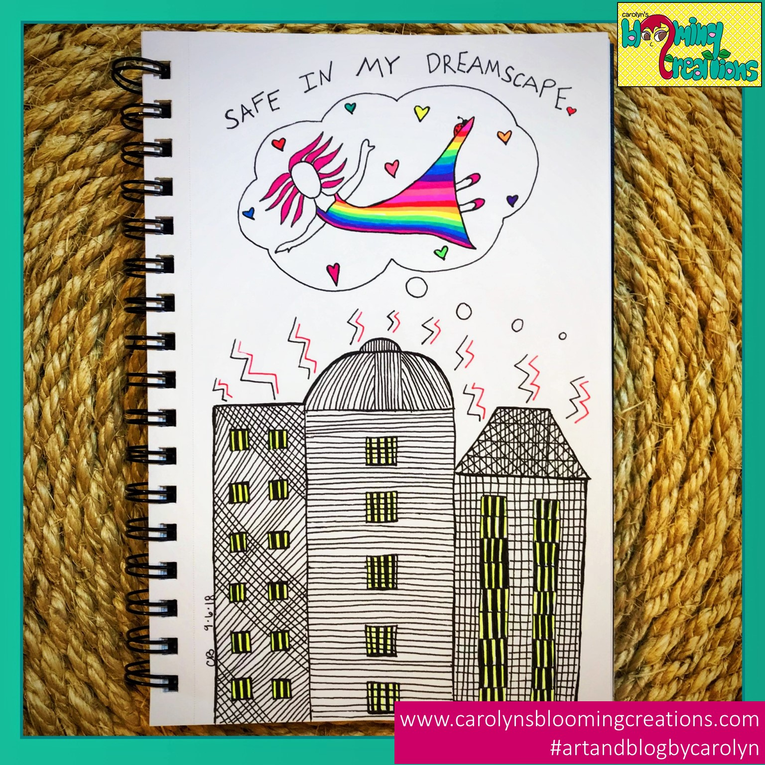 Art by Carolyn J. Braden using Gelly Roll pens and BIC pencils. I'm feeling safe living in the dreamscape of a life I've created into reality, and I really like it. I wish for others to work on creating their dream life and then love living it.