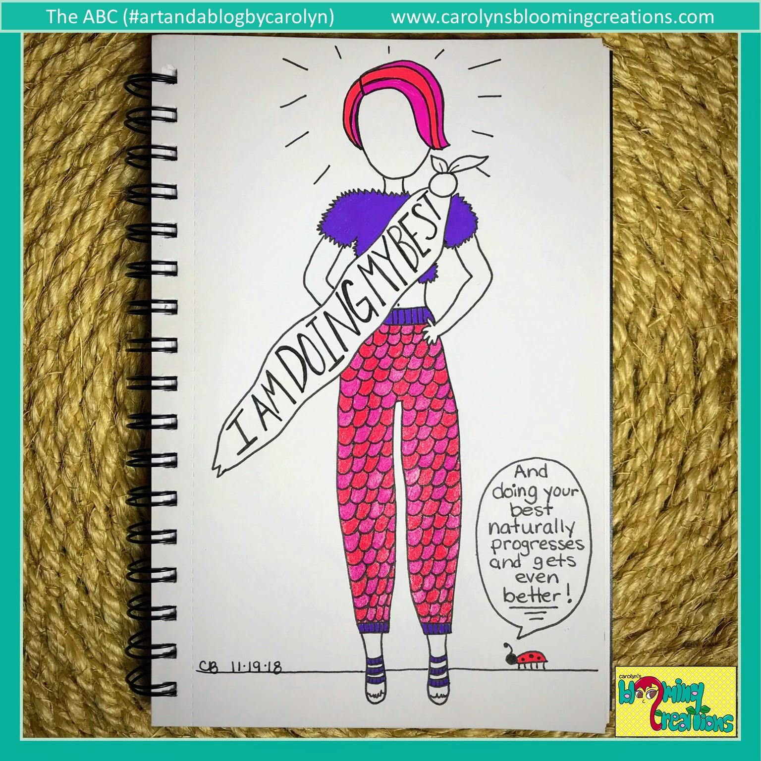 Art by Carolyn J. Braden, Media: Sakura Gelly Roll pens, Faber Castell PITT pens, BIC pencil  www.carolynsbloomingcreations.com