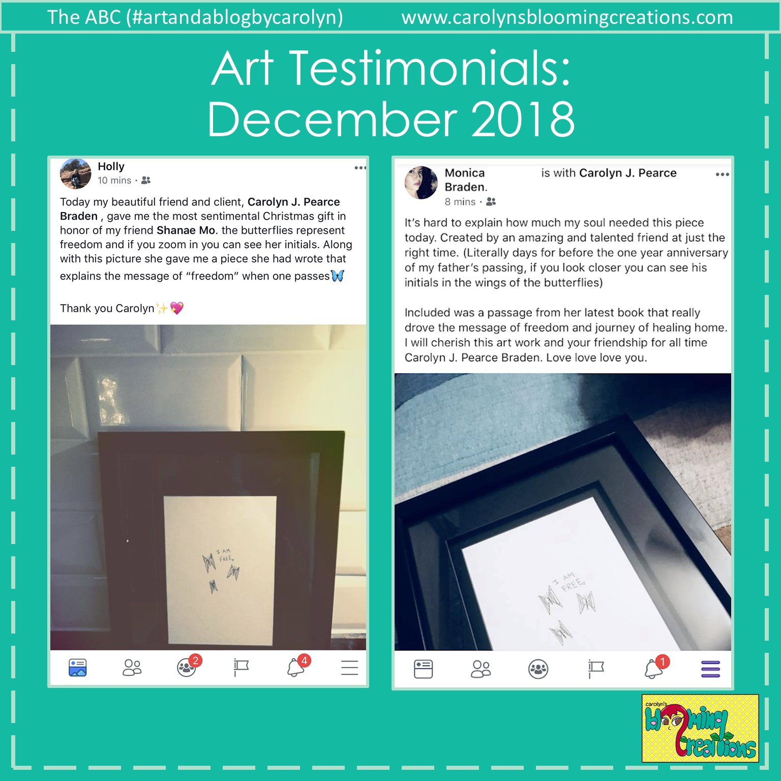 Art Testimonials by Holly and Monica, December 2018