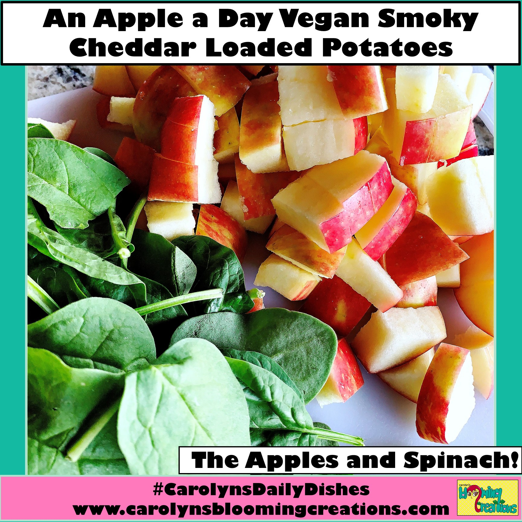 The spinach and apples, uncooked.  Recipe, food preparation, styling and photography by Carolyn J. Braden  Pin Me! www.carolynsbloomingcreations.com