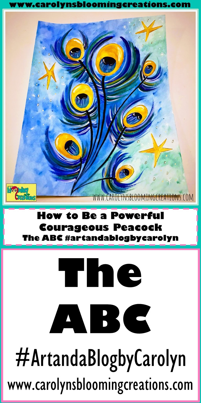 Painting (Watercolor and India Ink on Paper) by Carolyn J. Braden: Powerful Courageous Peacocks  Pin Me! www.carolynsbloomingcreations.com  #art #peacock