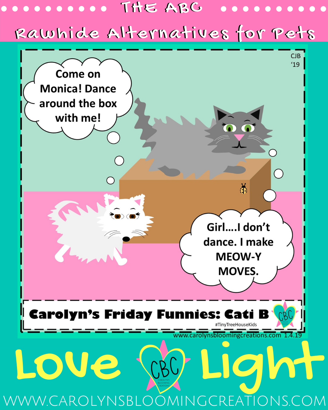 Carolyn's Friday Funnies: Rawhide Alternatives for Pets  Pin me! www.carolynsbloomingcreations.com  Art by Carolyn J. Braden, Media: Microsoft PowerPoint