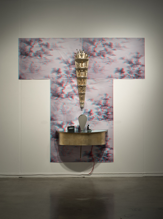 """No Place To Hide"" and ""Oriental Wallpaper, 5 Image  kimono 3D"", Installation"