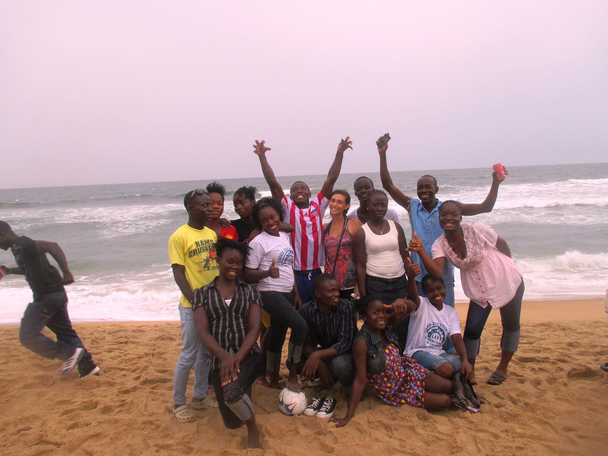 Monrovia students celebrating Liberian Independence Day with Program Director, Kim