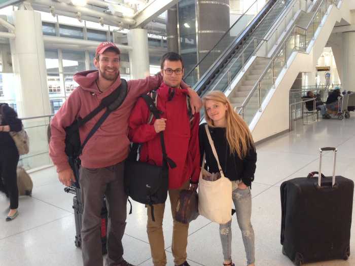 """Filmmakers Jesse Galkowski and Matthew Brady along with LEF Program Director, Maya French, en route to Liberia to shoot """"Ley' Go"""" in May 2015."""