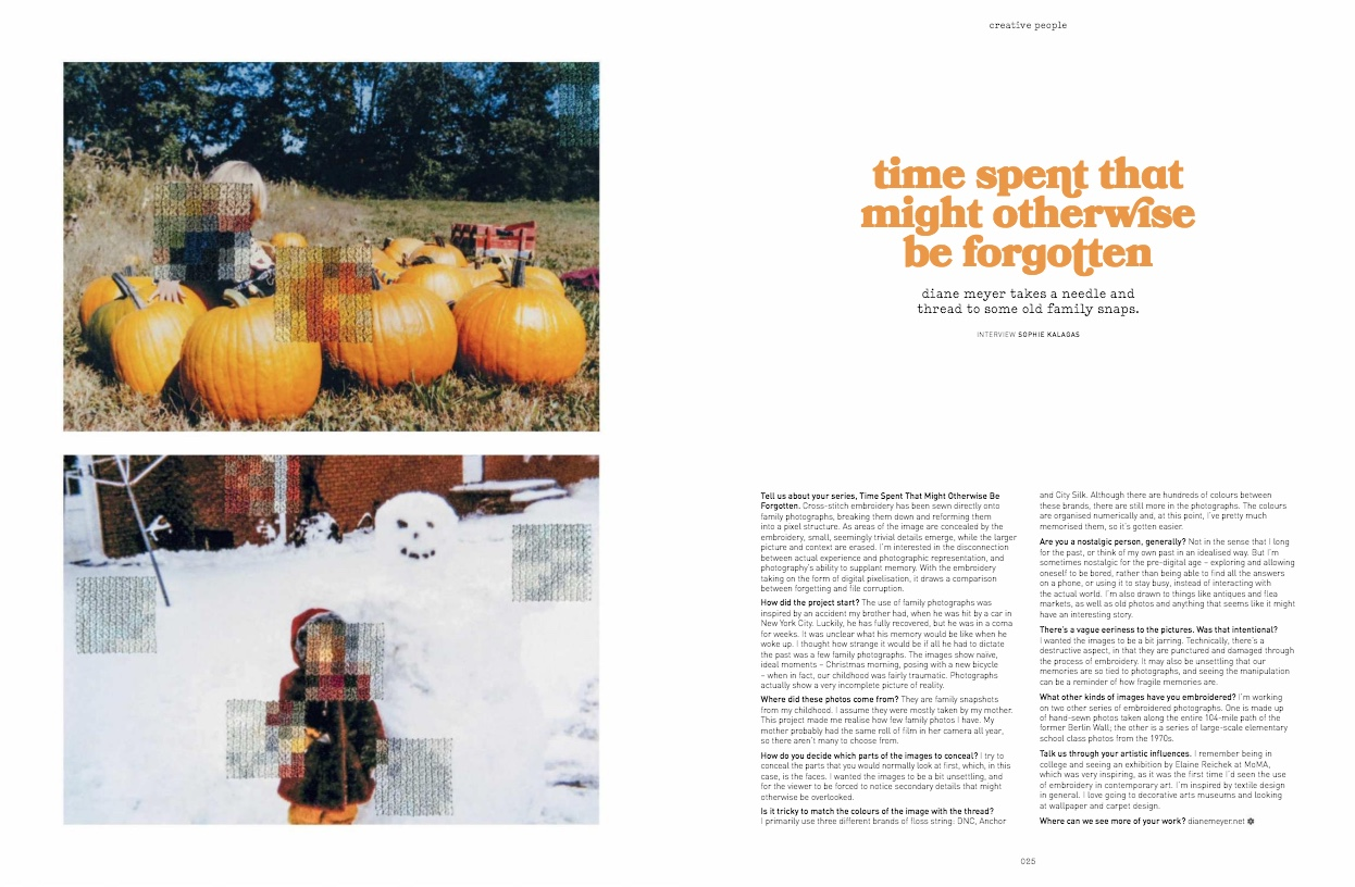 Page spread of editorial on Diane Meyer in  Frankie magazine.